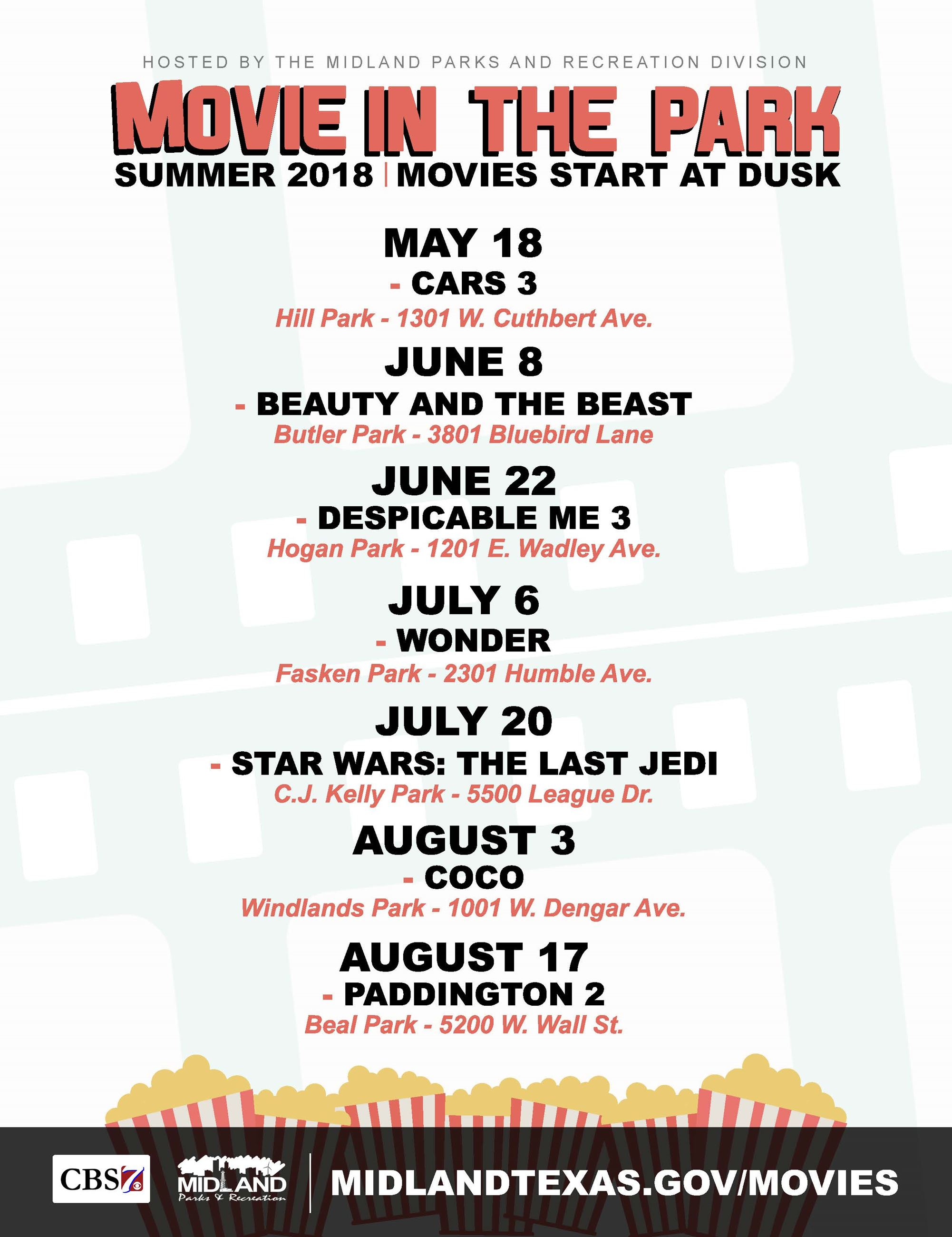 Movies in the Park 18 Flyer